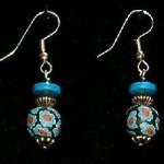 Bead Dangles - Black Turquoise Red Flower
