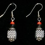 Bead Dangles - Back and White Check with Red Top