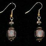 Bead Dangles - Black White Red Check Tube