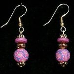 Bead Dangles - Fuschia Navy Flower