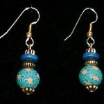 Bead Dangles - Green Blue Flower