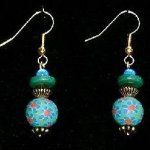 Bead Dangles - Green Blue Red Flower