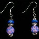 Bead Dangles - Navy Purple Flower