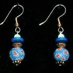 Bead Dangles - Navy Turquoise Flower
