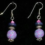 Bead Dangles - Periwinkle Fuschia Flower