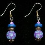 Bead Dangles - Purple Blue Flower