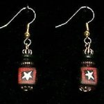 Bead Dangles - Red Black Star Square