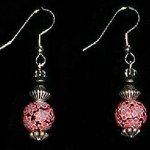 Bead Dangles - Red Flower Black and White Center