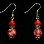 Bead Dangles - Red Flower Pink Center