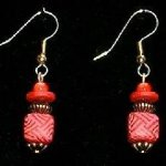 Bead Dangles - Red Pink Cross Check