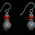 Bead Dangles - Rust Teal Flower Red Top