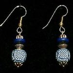 Bead Dangles - Tan Navy Check Round