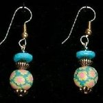 Bead Dangles - Turquoise Yellow Pink Flower