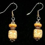 Bead Dangles - Yellow Swirl Square