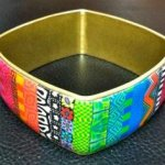 Brass and Polymer Wide Square Bangle Bracelet
