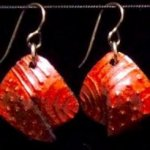 Dangle Foldover Earrings -Rugged Terrain - Crimson