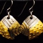 Dangle Foldover Earrings - Rugged Terrain - Silver and Gold