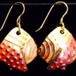Dangle Foldover Earring -Rugged Terrain - Copper Gold and Red