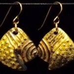 Dangle Foldover Earring -  Rugged Terrain - Gold