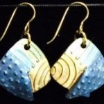 Dangle Foldover Earring -Rugged Terrain- Blue Turquoise Green and Gold