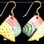 Dangle Foldover Earring- Rugged Terrain- Gold Red and Green