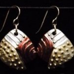 Dangle Foldover Earring-Rugged Terrain- Silver Smoke and Red