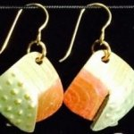 Dangle Foldover Earring-Rugged Terrain-Spring  Green Gold and Copper